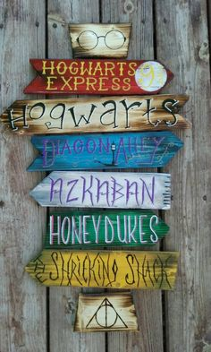 Harry Potter direction sign. Hand crafted hand by DevcoDesigns