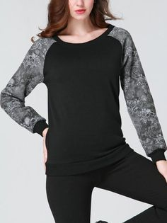 Patchwork Vintage Printing Long Sleeve O-Neck Casual T Shirt on buytrends.com