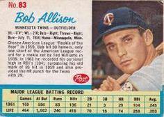 post cereal baseball cards     jim gentile | Bob Allison Minnesota Twins / 1962 Post #83