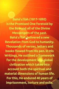 Bahá'u'lláh (1817-1892) is the Promised One foretold by the Báb and... #Bahai
