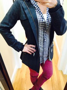"OOTD...CAbi Spring '15 Weekend Jacket, Essential Tank, Fall '14 Bordeaux Wash Skinny Jean and Spring '14 Mesh Shirt. www.nancydowning-schloss.cabionline.com #CAbiClothingWeekendJacket  The weekend Jacket is the perfect jacket to pair back to so many of the items in your closet! Of course I have to top it off with a ""puffy coat"" to brave the elements of our New England winter.  Brrrr!!!"
