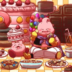Kirby and Majin Boo (Dragon Ball Z) Pokemon, Majin Boo Gordo, Dragon Ball Z Shirt, Cartoon Crossovers, Anime Crossover, Bleach Anime, Marvel, Video Game Art, Anime Manga