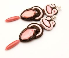 Extra long boho earrings with powder pink by MANUfakturamaanuela, $43.00