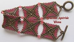 Tutorial for Asteride Bracelet - Diagrams are excellent but verbiage is in French & non-translatable. #Seed #Bead #Tutorial