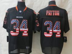Chicago Bears 34 Payton USA Flag Fashion Black 2014 New Nike Elite Jerseys