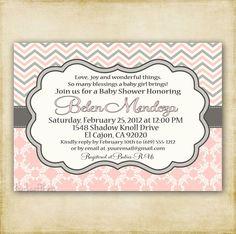 Pink and Gray Chevron - Baby Shower Invitation - Printable - DIY
