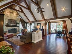 High pitched ceiling with rustic wood beams  18717 Woody Creek Dr, Edmond, OK 73012 | MLS #722006 | Zillow