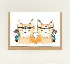 BOHO CATS . greeting card . blank card . cute cat . crazy cat lady . love note friendship thinking of you miss you hello hi . australia