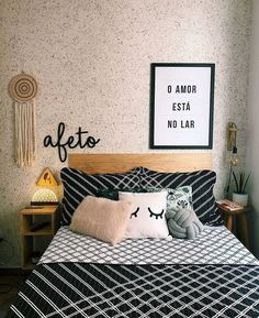 Room from @ The headboard was produced using 3 pine boards wide and a wallpaper was applied on the wall ❤️. Room Design Bedroom, Diy Home Decor Bedroom, Teen Room Decor, Room Ideas Bedroom, Home Room Design, Bedroom Bed, Space Saving Furniture, New Room, Architecture