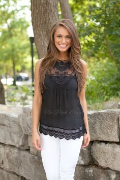 The Pink Lily Boutique - Beautiful Lace Tank Black, $35.00 (http://thepinklilyboutique.com/beautiful-lace-tank-black/)