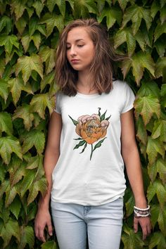 Tattoo T Shirts, Tattoos, Tattoo Clothing, Madame, Peonies, Japanese, T Shirts For Women, Trending Outfits, Sweaters