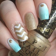 Mint and Gold Gradient and Chevron Nails - #gradient #chevronnails #nailart #nailpolish #ombrenails #nailsbyerin - Love beauty? Go to bellashoot.com for beauty inspiration!