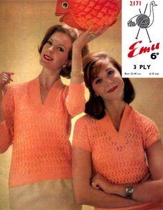 PDF Vintage Womens Ladies Knitting Pattern Summer Larger 1960s Knitting Patterns, Crochet Patterns, Coral Sweater, Emu, Vintage Knitting, Secretary, Pin Up Girls, Rockabilly, Preppy