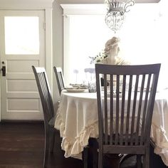 Ruffle Linen Tablecloth French Shabby Chic