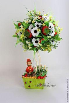 """Топиарий, дерево счастья """"Клубничное настроение"""" - ярко-красный,топиарий"""