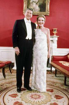 THE WHITE HOUSE DAYS.  President Ronald Reagan & First Lady Nancy Reagan - Red Room - White House - Washington, DC