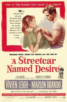 Directed by Elia Kazan. With Vivien Leigh, Marlon Brando, Kim Hunter, Karl Malden. Disturbed Blanche DuBois moves in with her sister in New Orleans and is tormented by her brutish brother-in-law while her reality crumbles around her. Old Movie Posters, Classic Movie Posters, Cinema Posters, Classic Movies, Film Posters, Old Movies, Vintage Movies, Great Movies, Indie Movies
