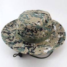 Camouflage Bucket Hats Wide Brim Sun Cap Ripstop Camo Fishing Hunting Hiking  Men Safari Summer Jungle with String Boonie Hat 0015e271f525