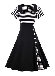Stripe Buttons Collar Midi A-line Dress (1061879)