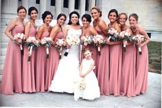 Rose and Grey Wedding | Dusky rose and grey bridal party