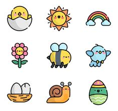 discount design banner 50 Spring icon for personal - discount Cute Small Drawings, Mini Drawings, Cute Kawaii Drawings, Doodle Drawings, Cute Food Drawings, Kawaii Stickers, Cute Stickers, Easy Doodle Art, Kawaii Doodles