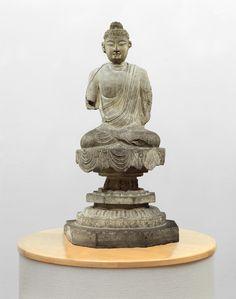 Art Institute Chicago, 725-750 ap. JC Sous la dynastie des Tang (618–907) le bouddhisme venu d'Inde a prospéré et c'est considérablement développé en Chine. Cette statue de bouddha est caractéristique du style Tang: port robuste, physique conique, aspect...