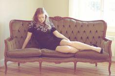 Sequin vintage dress, vintage couch