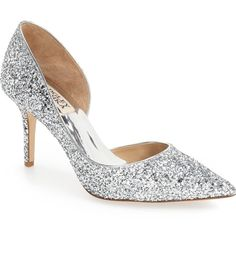 Swooning over these glitter-encrusted pumps crafted with a pointy toe and a generously padded footbed.