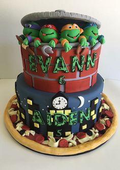 Teenage mutant ninja turtle cake for twin boys. Kids birthday cake