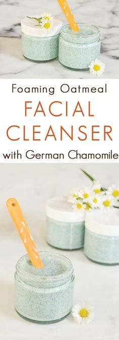 Oatmeal Chamomile Foaming Facial Cleanser Recipe. A gentle foaming facial scrub made with soothing oat oil and chamomile.