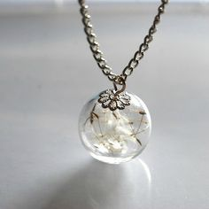 Dandelion Necklaces Eco Resin Make A Wish Orb Silver Necklace Botanical  Globe Beadwork