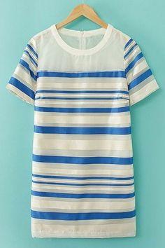 Cute Striped Short Sleeve Dress