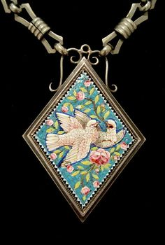 VICTORIAN Antique MICRO MOSAIC Doves & Pink Roses SILVER LAVALIERE NECKLACE 1880 #AntiqueVictorianClassicsRevival