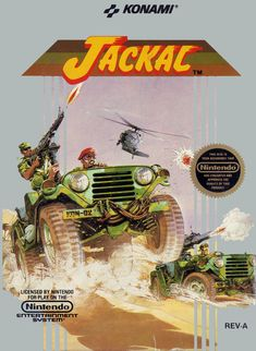 Grab a gun and get to the choppa--er, jeep! Time for some retro video game run and gun goodness in Friday Night Rentals. Up this time, the Konami classic, Jackal. Nes Games, Games Box, Nintendo Games, Arcade Games, Nintendo 64, Board Games, Classic Video Games, Retro Video Games, Video Game Art