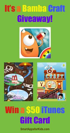 Giveaway: Win a $50 iTunes GC while kids craft their little hearts away with Bamba Craft http://www.smartappsforkids.com/2014/04/giveaway-win-a-50-itunes-gc-while-kids-craft-their-little-hearts-away-with-bamba-craft.html