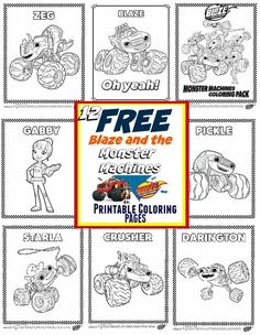 Blaze and The Monster Machines Party Ideas + FREE Printable Coloring Pages, Free Printable party decor and GAMES ad  ...