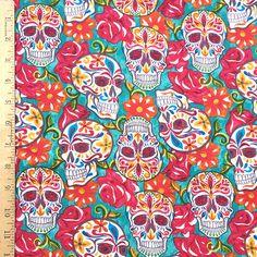 Festive Sugar Skull Fabric Skull Fabric