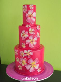 Pink Hibiscus Cake. LOVE, LOVE, LOVE!!!!! Yes Please!!! ;-) ;-)
