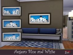 evi's Aegean Blue and White Summer On You, Sims Community, Electronic Art, Sims 4, Blue And White, Paintings, Furniture, Home Decor, Decoration Home