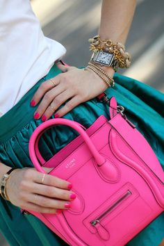 Pink and Teal-love this color combo (and the bag is pretty awesome too!)