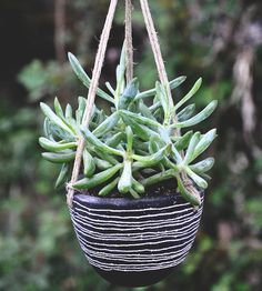 Line Pattern Hanging Double Ceramic Planter | Home Garden  Patio | Half Light Honey Studio | Scoutmob Shoppe | Product Detail