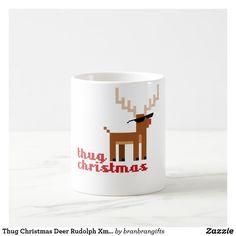 Thug Christmas Deer Rudolph Xmas Life Funny pixel Coffee Mug Christmas Coffee, Christmas Deer, Christmas And New Year, Winter Holidays, Christmas Holidays, Xmas, Coffee Travel, Travel Mug, Tea Cups