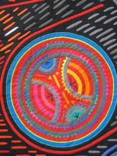 Tokyo Quilt with strong graphical elements, 2008 show.  Close up, reverse applique (mola) quilt, posted by Oregon quilt