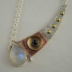 Rainbow Moonstone Necklace - Mixed Metal Jewelry - Artisan Metalsmith Pendant
