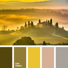 bright yellow, colour combination, colour matching, colour of a rising sun, colour of lavender, colours of Tuscany, gentle pink, green-brown, lavender colour, light violet, marsh colour, marsh-brown colour, pastel violet, tender
