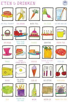 Food English Writing Skills, Teaching English, Dutch Phrases, Afrikaans Language, Learn Dutch, Dutch Language, Kids Prints, Cooking With Kids, Holland
