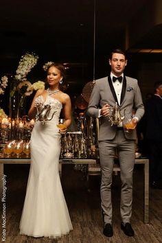 Grey skinny tuxedo with black silk accents. #Carlu10 Anniversary Gala @Matty Chuah Carlu