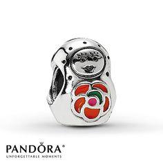 Pandora Babushka Charm Red Enamel Sterling Silver