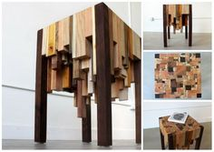 This end table was made almost entirely with scrap wood. It doesn't matter the size of the scrap wood, and you can make the table any height you want. It looks amazing and is easy to make!   Facebook Google+ Pinterest Twitter