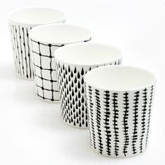 Bono Monochrome Cup Set #ceramics #blackandwhite #bw #monochrome #pattern